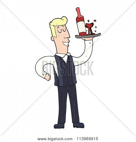 freehand drawn cartoon waiter
