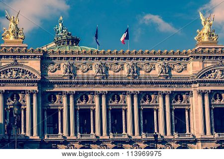 Old Photo With Architectural Details Of Opera National De Paris. Front Facade 1