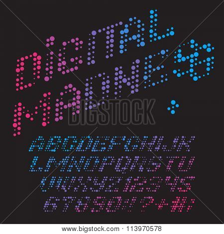Color dots alphabet. Vector font Digital Madness