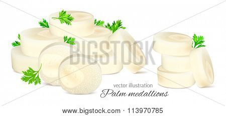 Chopped hearts of palm with parsley. Fully editable handmade mesh. Vector illustration.