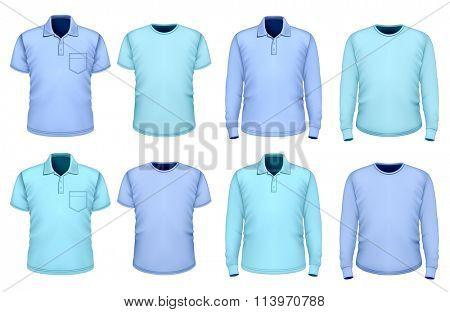 Men polo-shirt and t-shirt short and long sleeve.  Fully editable handmade mesh. Vector illustration.