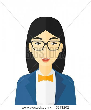 Cheerful woman laughing ecstatically.