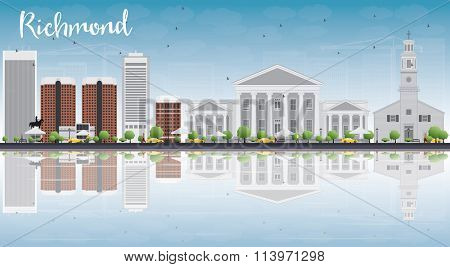 Richmond (Virginia) Skyline with Gray Buildings, Blue Sky and Reflections. Vector Illustration. Business Travel and Tourism Conceptwith Modern Buildings.Image for Presentation, Banner and Web Site.