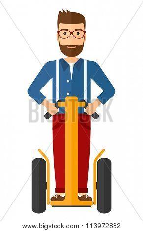 Man riding on segway.