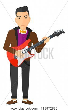 Musician playing electric guitar.