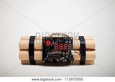 bomb with timer isolated on white background