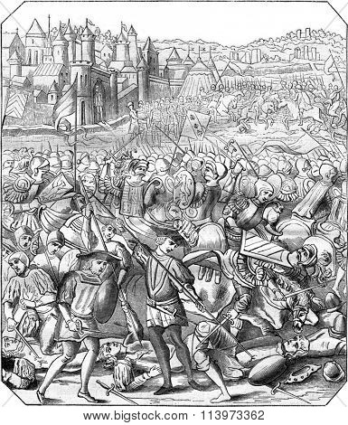 Battle of Nancy, Print the eighteenth century, according to a miniature time, vintage engraved illustration. Magasin Pittoresque 1867.