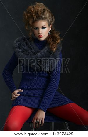 Portrait Young Elegant Woman In Blue Dress And Fur Collar