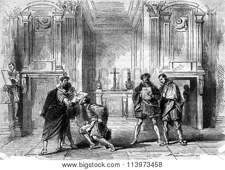Young artists in the funeral chapel of the Medici, Louvre Museum, vintage engraved illustration. Magasin Pittoresque 1867.