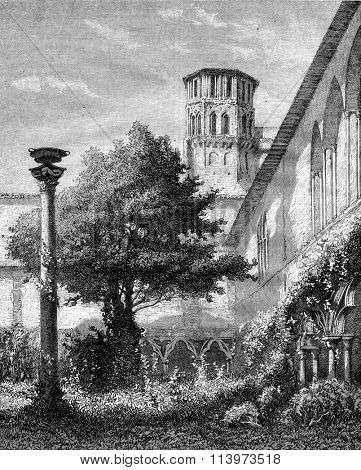 Museum of Toulouse, The large cloister, vintage engraved illustration. Magasin Pittoresque 1867.