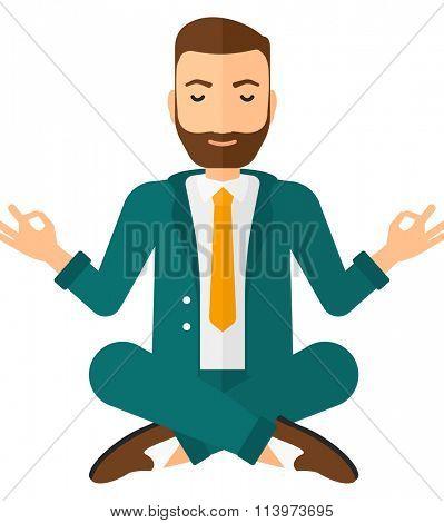Businessman meditating in lotus pose.