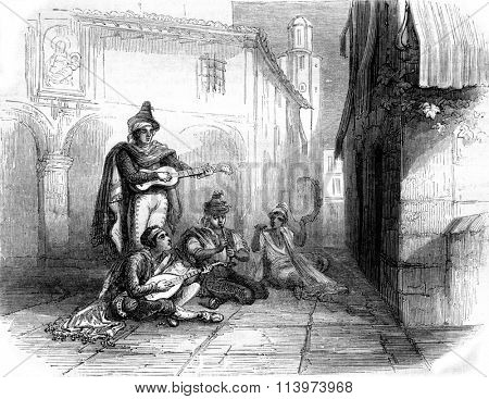 A Serenade in Castile, vintage engraved illustration. Magasin Pittoresque 1857.