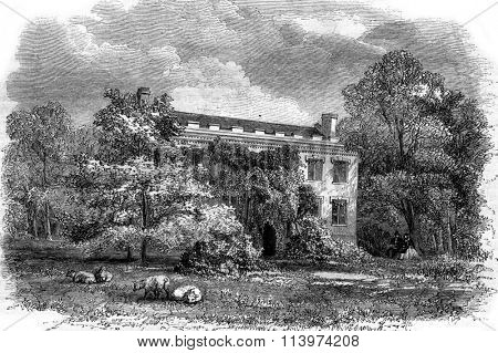 The House of Fenimore Cooper, Cooperstown, vintage engraved illustration. Magasin Pittoresque 1857.