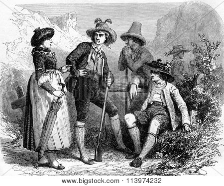 Tyrolean costumes, vintage engraved illustration. Magasin Pittoresque 1857.