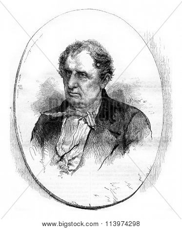 Fenimore Cooper, vintage engraved illustration. Magasin Pittoresque 1857.