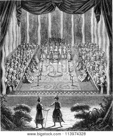 The coronation of Suleyman, Shah of Persia, September 25 from 1666 to 1667, vintage engraved illustration. Magasin Pittoresque 1857.