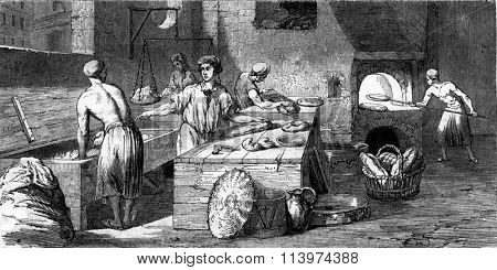 A bakery in the eighteenth century, vintage engraved illustration. Magasin Pittoresque 1857.