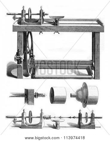 Facing lathe, vintage engraved illustration. Magasin Pittoresque 1853.