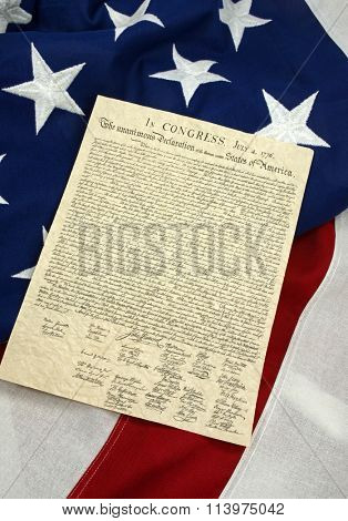 Declaration of Independence on American Flag, Vertical
