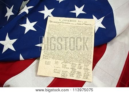 Declaration of Independence on American Flag, Horizontal