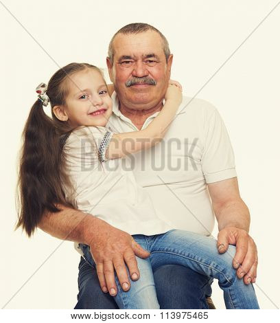 Grandfather and grandchildren portrait on white