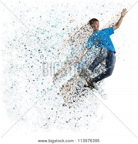 Guy riding skateboard