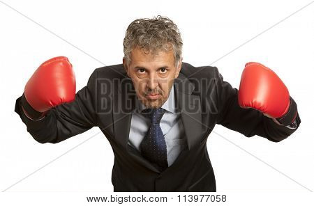 Business concept. Businessman in red boxing gloves