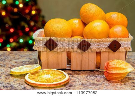 wooden box with tangerines