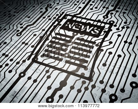 News concept: circuit board with Newspaper