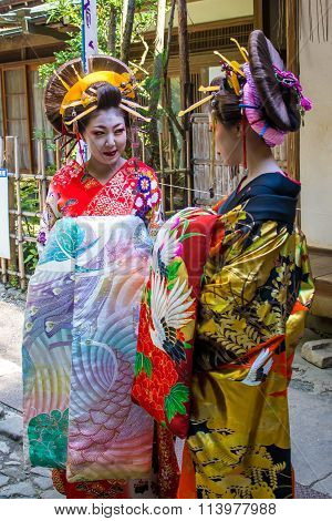 Kyoto, Japan - October 12, 2015 : Maiko, Apprentices Geisha, In Kyoto, Japan.