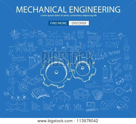 Mechanical Engineering concept with Doodle design style :physics solution, re-engineering, parts design.Modern style illustration for web banners, brochure and flyers.