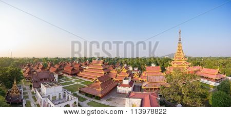 Panorama of Mandalay palace at Mandalay city of Myanmar Burma