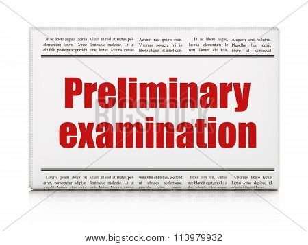 Learning concept: newspaper headline Preliminary Examination