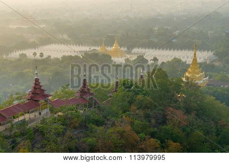 Top view from Mandalay Hills in the morning.