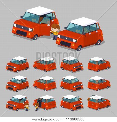 Cube World. Red hatchback