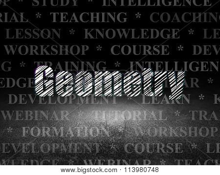 Learning concept: Geometry in grunge dark room