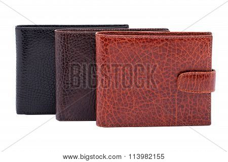 Set Of Three Men Wallets Colseup
