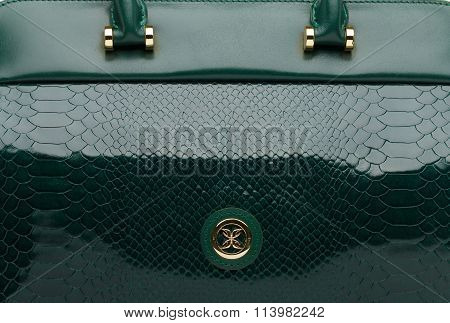 Dark Green Natural Leather Female Bag Closeup