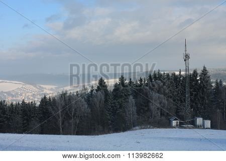 Television Transmitter On Edge Forest In The  Morning On January