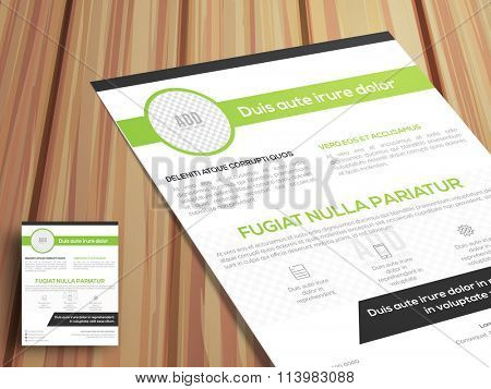 One Page Business Flyer, Pamphlet or Brochure on wooden background for your professions.