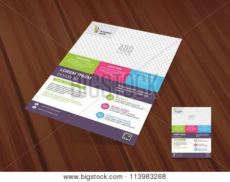 Colorful creative Business Flyer, Pamphlet, Banner or Brochure on wooden background for your professions.