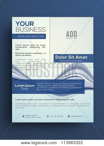 Abstract waves decorated, One Page Business Flyer, Pamphlet or Banner with image space.