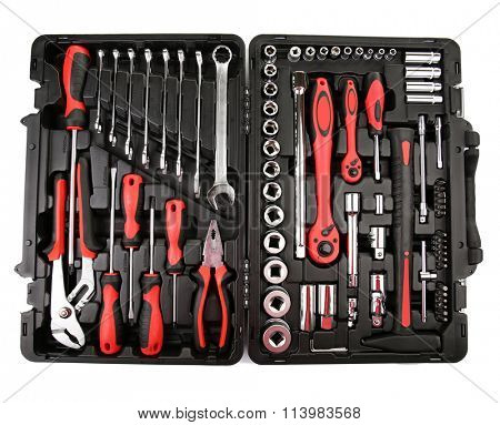 Set of tools in box isolated on white