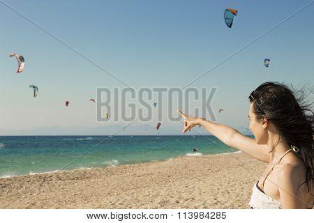 Kitesurf on the beach