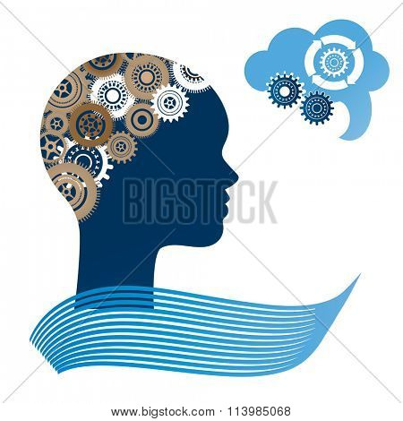 Woman profile with gears for brain and speech bubble