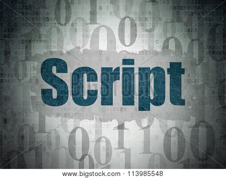 Database concept: Script on Digital Paper background