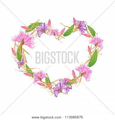 Crape Myrtle Flowers And Equiphyllum Flowers In Heart Shape
