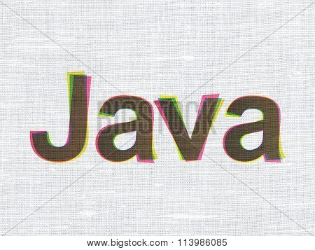 Programming concept: Java on fabric texture background