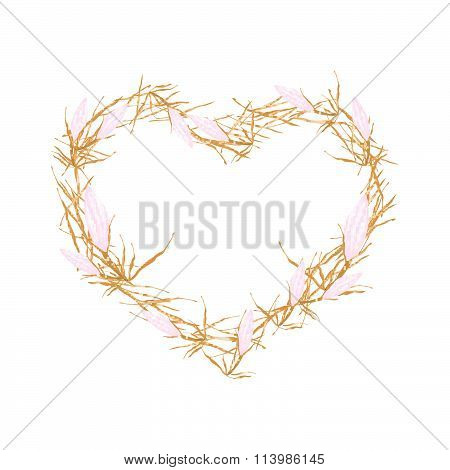 Pink Equiphyllum Flowers In Heart Shape Frame
