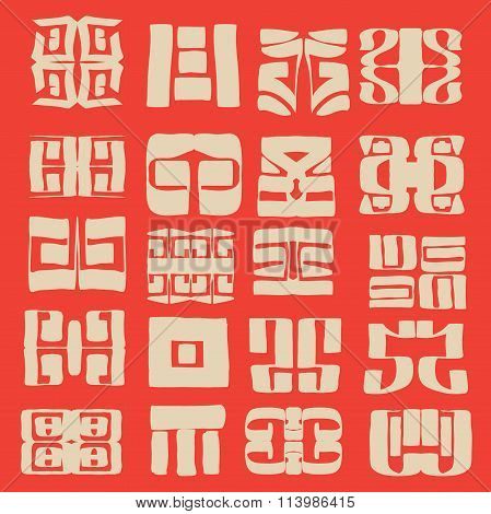 Pattern design containing spontaneously thought-up hand drawn asian looking symbols